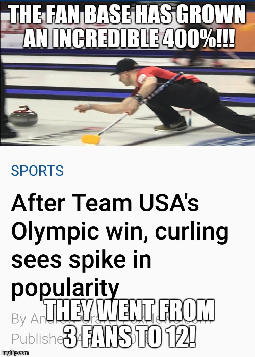 It has quadrupled! Amazing!  | THE FAN BASE HAS GROWN AN INCREDIBLE 400%!!! THEY WENT FROM 3 FANS TO 12! | image tagged in curling,olympics,usa | made w/ Imgflip meme maker