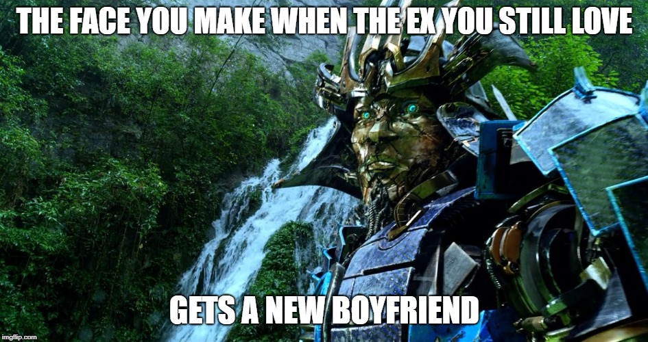 THE FACE YOU MAKE WHEN THE EX YOU STILL LOVE GETS A NEW BOYFRIEND | image tagged in transformers | made w/ Imgflip meme maker
