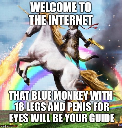 Welcome To The Internets Meme | WELCOME TO THE INTERNET THAT BLUE MONKEY WITH 18 LEGS AND P**IS FOR EYES WILL BE YOUR GUIDE | image tagged in memes,welcome to the internets | made w/ Imgflip meme maker