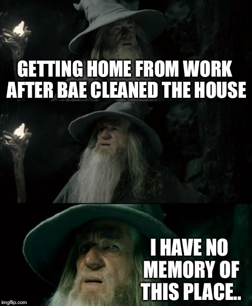 Confused Gandalf Meme | GETTING HOME FROM WORK AFTER BAE CLEANED THE HOUSE I HAVE NO MEMORY OF THIS PLACE.. | image tagged in memes,confused gandalf | made w/ Imgflip meme maker