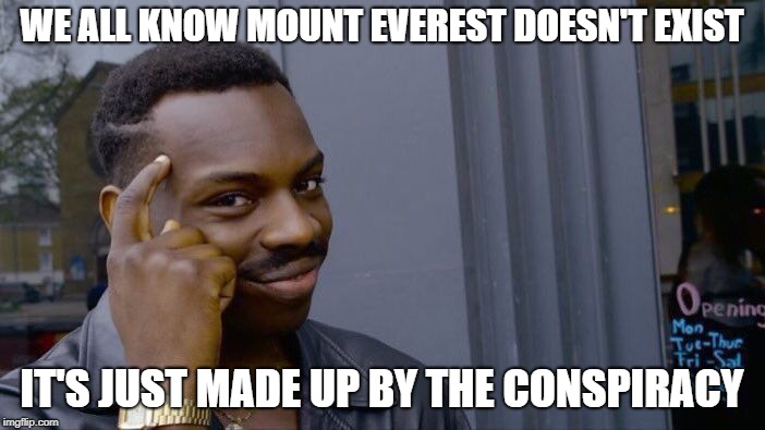 Roll Safe Think About It Meme | WE ALL KNOW MOUNT EVEREST DOESN'T EXIST IT'S JUST MADE UP BY THE CONSPIRACY | image tagged in memes,roll safe think about it | made w/ Imgflip meme maker