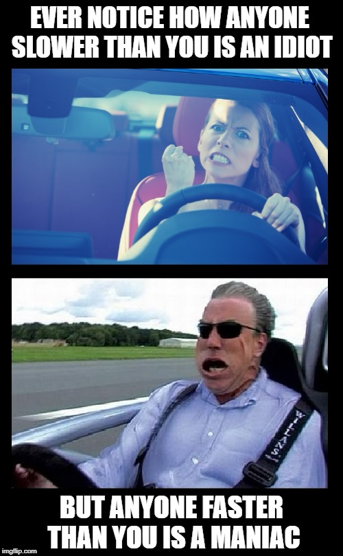 Two types of drivers on the road: | EVER NOTICE HOW ANYONE SLOWER THAN YOU IS AN IDIOT BUT ANYONE FASTER THAN YOU IS A MANIAC | image tagged in meme,funny,driving,cars,driver,speeding | made w/ Imgflip meme maker