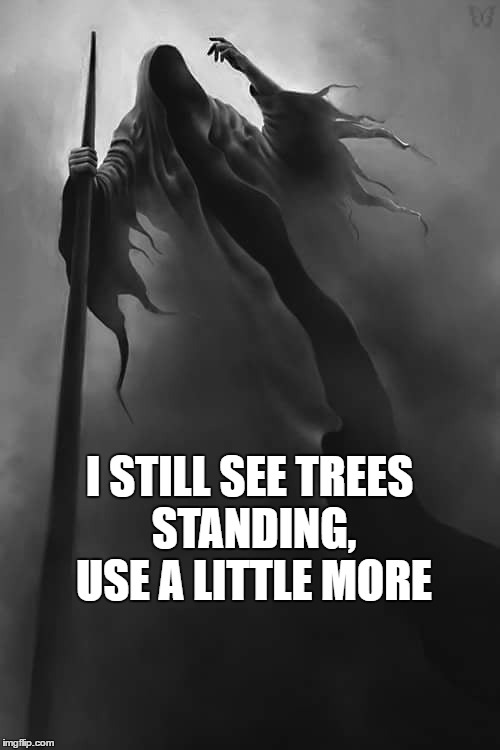 I STILL SEE TREES STANDING, USE A LITTLE MORE | made w/ Imgflip meme maker