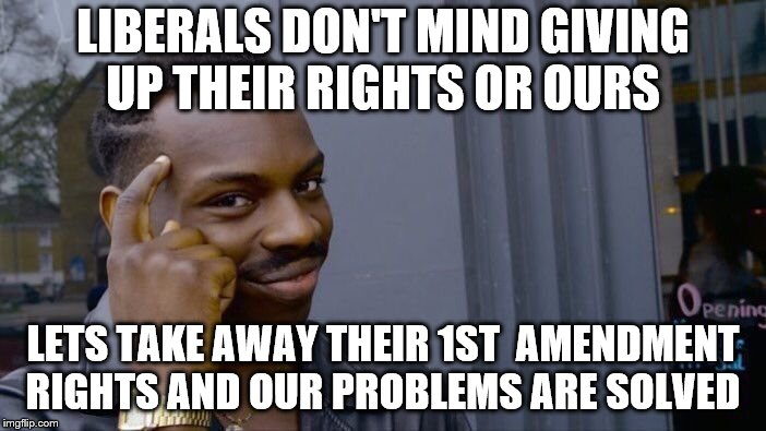 Roll Safe Think About It Meme | LIBERALS DON'T MIND GIVING UP THEIR RIGHTS OR OURS LETS TAKE AWAY THEIR 1ST  AMENDMENT RIGHTS AND OUR PROBLEMS ARE SOLVED | image tagged in memes,roll safe think about it | made w/ Imgflip meme maker