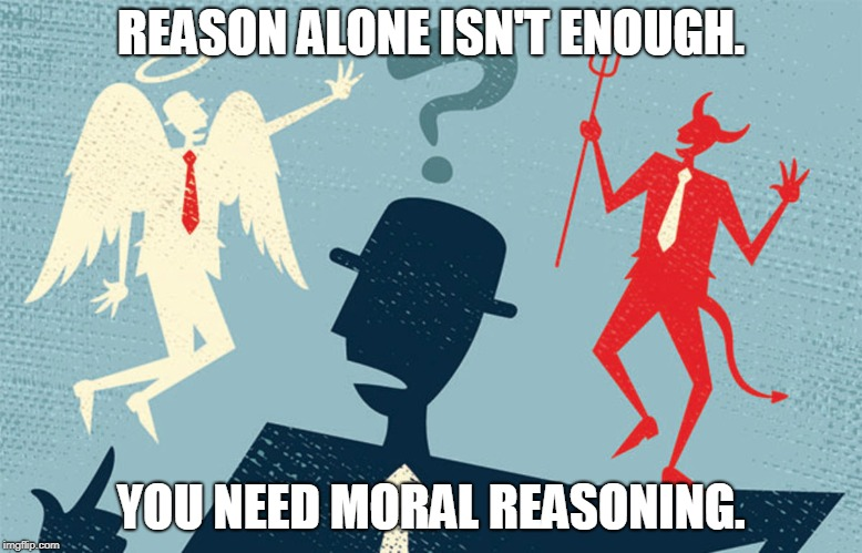 Morality and Reason | REASON ALONE ISN'T ENOUGH. YOU NEED MORAL REASONING. | image tagged in morals,truth,ethics,treason,logic,memes | made w/ Imgflip meme maker