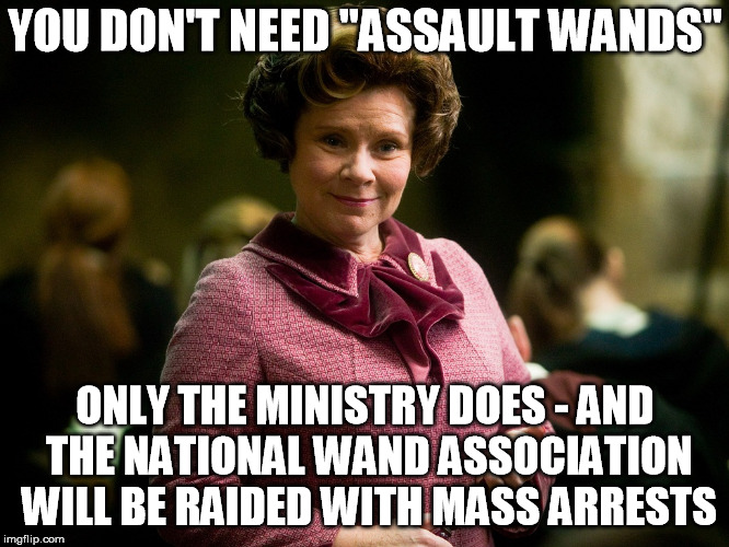 "Voldemort also approves of the seizures argument | YOU DON'T NEED ""ASSAULT WANDS"" ONLY THE MINISTRY DOES - AND THE NATIONAL WAND ASSOCIATION WILL BE RAIDED WITH MASS ARRESTS 