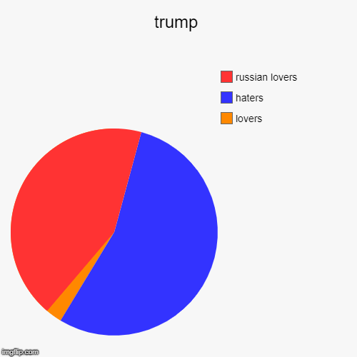 trump | lovers, haters, russian lovers | image tagged in funny,pie charts | made w/ Imgflip pie chart maker