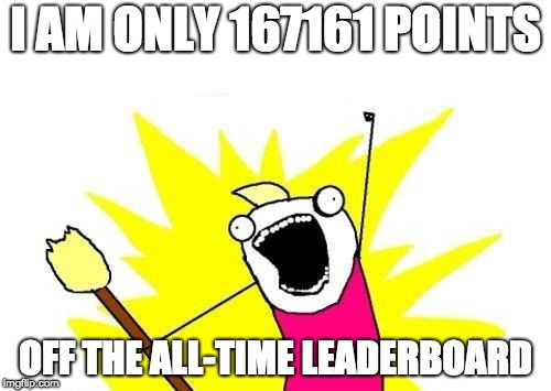 X All The Y Meme | I AM ONLY 167161 POINTS OFF THE ALL-TIME LEADERBOARD | image tagged in memes,x all the y | made w/ Imgflip meme maker