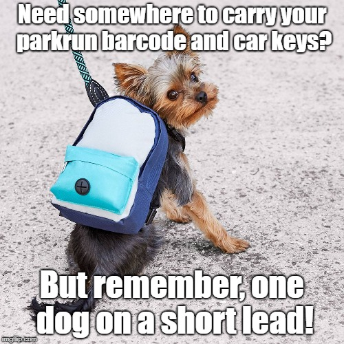 parkrun Dog Pack | Need somewhere to carry your parkrun barcode and car keys? But remember, one dog on a short lead! | image tagged in parkrun,dog,backpack | made w/ Imgflip meme maker