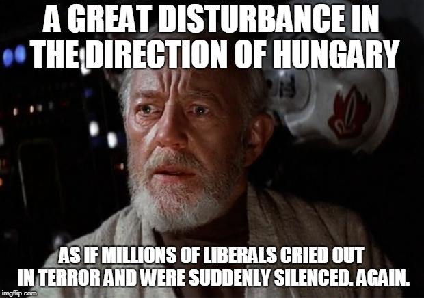 Surprise Obi Wan | A GREAT DISTURBANCE IN THE DIRECTION OF HUNGARY AS IF MILLIONS OF LIBERALS CRIED OUT IN TERROR AND WERE SUDDENLY SILENCED. AGAIN. | image tagged in surprise obi wan | made w/ Imgflip meme maker