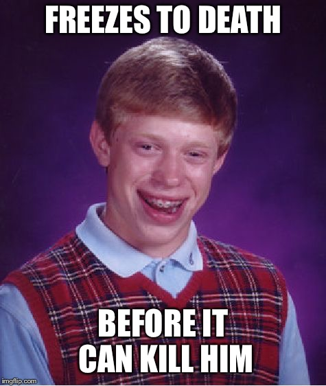 Bad Luck Brian Meme | FREEZES TO DEATH BEFORE IT CAN KILL HIM | image tagged in memes,bad luck brian | made w/ Imgflip meme maker
