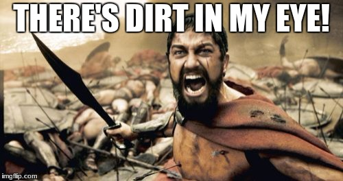 Sparta Leonidas Meme | THERE'S DIRT IN MY EYE! | image tagged in memes,sparta leonidas | made w/ Imgflip meme maker