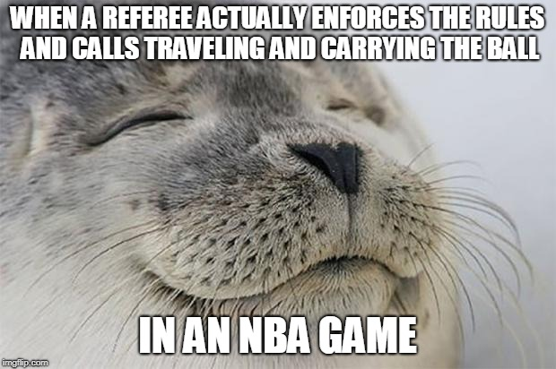 Satisfied Seal Meme | WHEN A REFEREE ACTUALLY ENFORCES THE RULES AND CALLS TRAVELING AND CARRYING THE BALL IN AN NBA GAME | image tagged in memes,satisfied seal | made w/ Imgflip meme maker