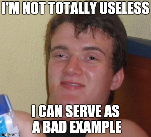 10 Guy Meme | I'M NOT TOTALLY USELESS I CAN SERVE AS A BAD EXAMPLE | image tagged in memes,10 guy | made w/ Imgflip meme maker