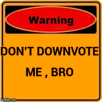 DON'T DOWNVOTE ME , BRO | image tagged in troll warning | made w/ Imgflip meme maker