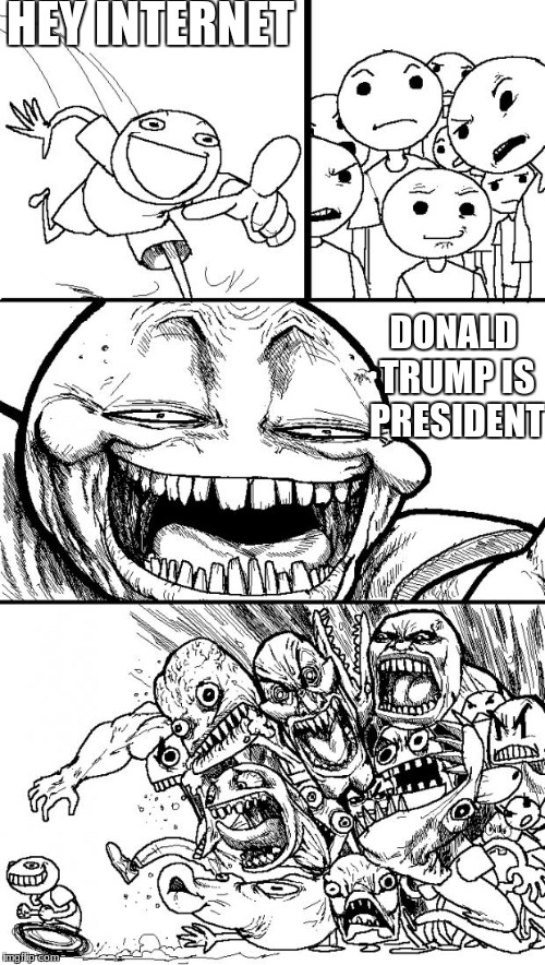 Hey Internet Meme | HEY INTERNET DONALD TRUMP IS PRESIDENT | image tagged in memes,hey internet | made w/ Imgflip meme maker