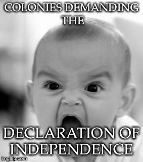 Angry Baby Meme | COLONIES DEMANDING THE DECLARATION OF INDEPENDENCE | image tagged in memes,angry baby | made w/ Imgflip meme maker