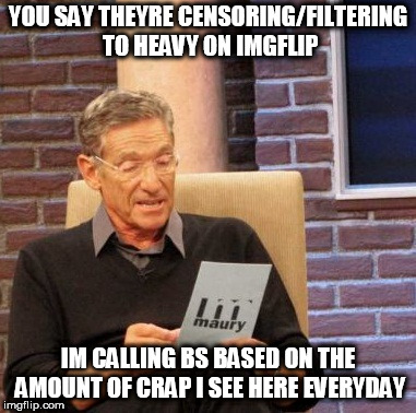 Maury Lie Detector |  YOU SAY THEYRE CENSORING/FILTERING TO HEAVY ON IMGFLIP; IM CALLING BS BASED ON THE AMOUNT OF CRAP I SEE HERE EVERYDAY | image tagged in memes,maury lie detector | made w/ Imgflip meme maker