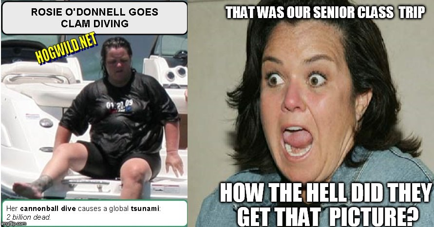 rosie   BELLYFLOP | THAT WAS OUR SENIOR CLASS  TRIP HOW THE HELL DID THEY GET THAT  PICTURE? | image tagged in rosie o'donnell,fat ass,diving | made w/ Imgflip meme maker