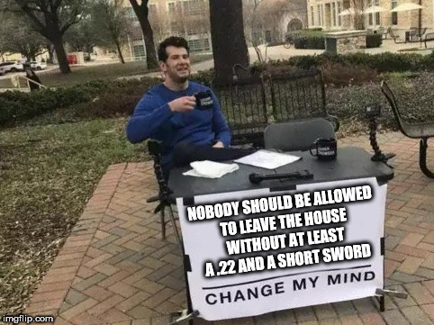 Change My Mind | NOBODY SHOULD BE ALLOWED TO LEAVE THE HOUSE WITHOUT AT LEAST A .22 AND A SHORT SWORD | image tagged in change my mind | made w/ Imgflip meme maker