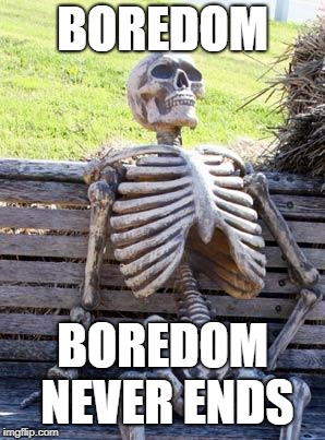 Waiting Skeleton Meme | BOREDOM BOREDOM NEVER ENDS | image tagged in memes,waiting skeleton | made w/ Imgflip meme maker