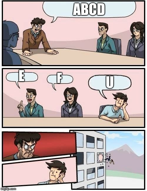 fu | ABCD E F U | image tagged in memes,boardroom meeting suggestion | made w/ Imgflip meme maker