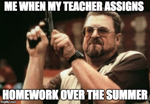 Am I The Only One Around Here Meme | ME WHEN MY TEACHER ASSIGNS HOMEWORK OVER THE SUMMER | image tagged in memes,am i the only one around here | made w/ Imgflip meme maker