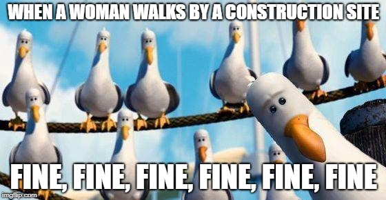 Nemo Birds | WHEN A WOMAN WALKS BY A CONSTRUCTION SITE FINE, FINE, FINE, FINE, FINE, FINE | image tagged in nemo birds | made w/ Imgflip meme maker