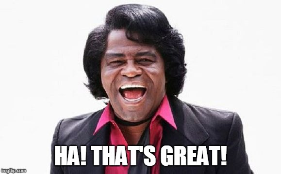 James Brown | HA! THAT'S GREAT! | image tagged in james brown | made w/ Imgflip meme maker
