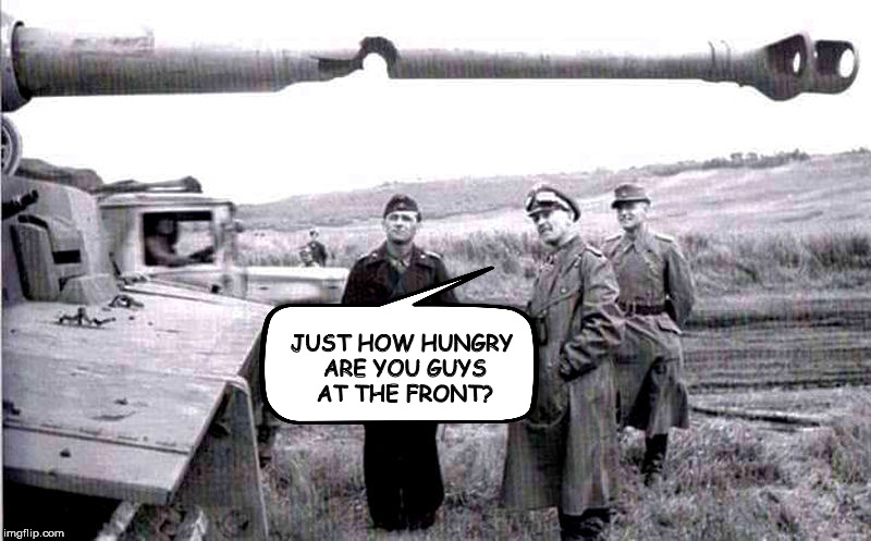 Meanwhile, in WWII | JUST HOW HUNGRY ARE YOU GUYS AT THE FRONT? | image tagged in german tank,cannon | made w/ Imgflip meme maker