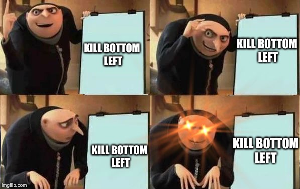 Grus Plan Evil | KILL BOTTOM LEFT KILL BOTTOM LEFT KILL BOTTOM LEFT KILL BOTTOM LEFT | image tagged in grus plan evil | made w/ Imgflip meme maker