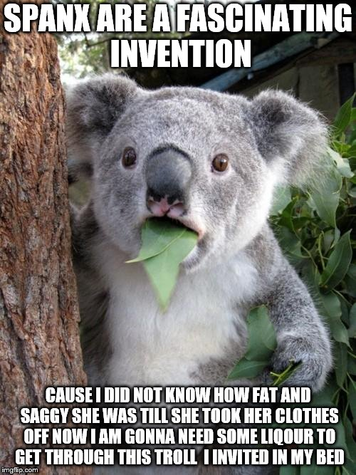 Surprised Koala Meme | SPANX ARE A FASCINATING INVENTION CAUSE I DID NOT KNOW HOW FAT AND SAGGY SHE WAS TILL SHE TOOK HER CLOTHES OFF NOW I AM GONNA NEED SOME LIQO | image tagged in memes,surprised koala | made w/ Imgflip meme maker