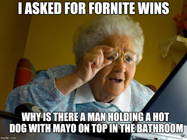 Grandma Finds The Internet Meme | I ASKED FOR FORNITE WINS WHY IS THERE A MAN HOLDING A HOT DOG WITH MAYO ON TOP IN THE BATHROOM | image tagged in memes,grandma finds the internet | made w/ Imgflip meme maker