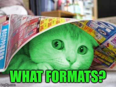 RayCat Scared | WHAT FORMATS? | image tagged in raycat scared | made w/ Imgflip meme maker