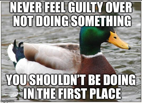 Regarding feeling guilty | NEVER FEEL GUILTY OVER NOT DOING SOMETHING YOU SHOULDN'T BE DOING IN THE FIRST PLACE | image tagged in memes,actual advice mallard,guilt | made w/ Imgflip meme maker