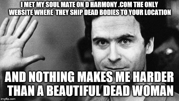 ted bundy greeting | I MET MY SOUL MATE ON D HARMONY .COM THE ONLY WEBSITE WHERE  THEY SHIP DEAD BODIES TO YOUR LOCATION AND NOTHING MAKES ME HARDER THAN A BEAUT | image tagged in ted bundy greeting | made w/ Imgflip meme maker