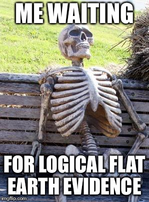Still waiting for that evidence, mates. | ME WAITING FOR LOGICAL FLAT EARTH EVIDENCE | image tagged in memes,waiting skeleton,flat earth,earth,science,logic | made w/ Imgflip meme maker