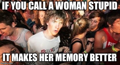 Sudden Clarity Clarence Meme | IF YOU CALL A WOMAN STUPID IT MAKES HER MEMORY BETTER | image tagged in memes,sudden clarity clarence | made w/ Imgflip meme maker