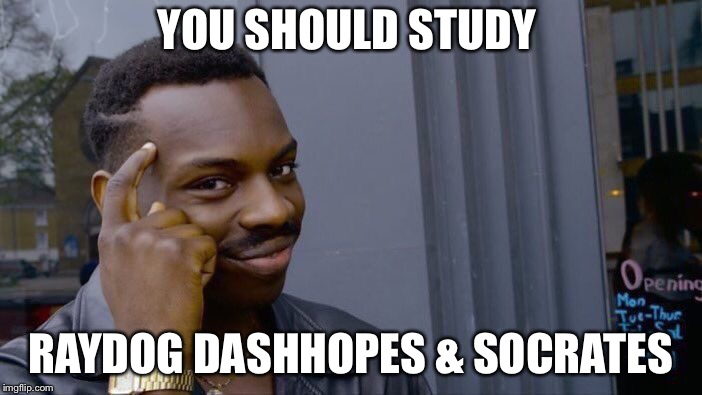 Roll Safe Think About It Meme | YOU SHOULD STUDY RAYDOG DASHHOPES & SOCRATES | image tagged in memes,roll safe think about it | made w/ Imgflip meme maker