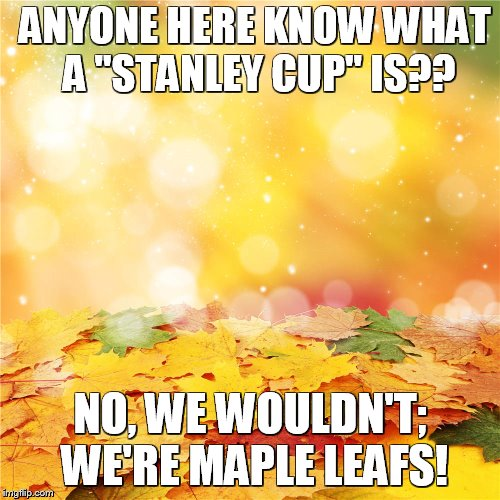 "ANYONE HERE KNOW WHAT A ""STANLEY CUP"" IS?? NO, WE WOULDN'T; WE'RE MAPLE LEAFS! 