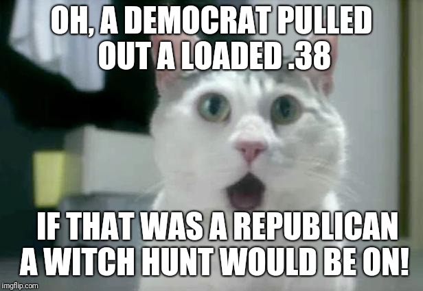 OMG Cat Meme | OH, A DEMOCRAT PULLED OUT A LOADED .38 IF THAT WAS A REPUBLICAN A WITCH HUNT WOULD BE ON! | image tagged in memes,omg cat | made w/ Imgflip meme maker