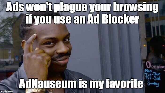 Roll Safe Think About It Meme | Ads won't plague your browsing if you use an Ad Blocker AdNauseum is my favorite | image tagged in memes,roll safe think about it | made w/ Imgflip meme maker
