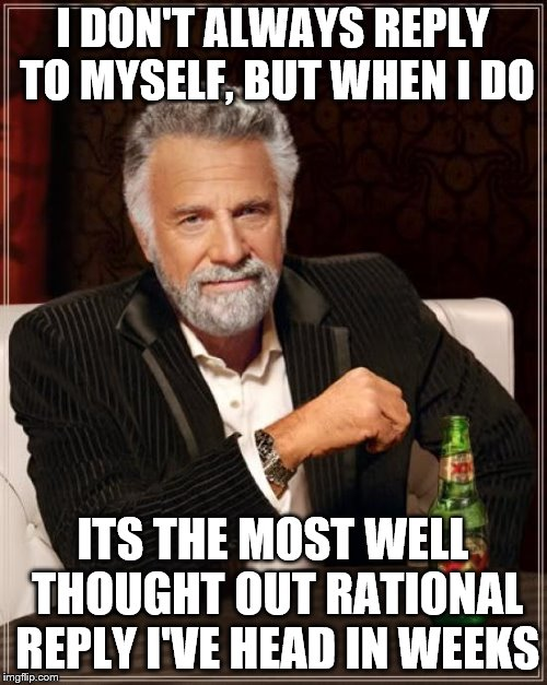 The Most Interesting Man In The World Meme | I DON'T ALWAYS REPLY TO MYSELF, BUT WHEN I DO ITS THE MOST WELL THOUGHT OUT RATIONAL REPLY I'VE HEAD IN WEEKS | image tagged in memes,the most interesting man in the world | made w/ Imgflip meme maker