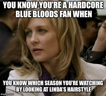 Am I right, or am I right? | YOU KNOW YOU'RE A HARDCORE BLUE BLOODS FAN WHEN YOU KNOW WHICH SEASON YOU'RE WATCHING BY LOOKING AT LINDA'S HAIRSTYLE | image tagged in linda reagan blue bloods | made w/ Imgflip meme maker