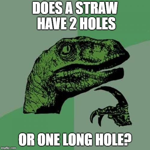 Philosoraptor Meme | DOES A STRAW HAVE 2 HOLES OR ONE LONG HOLE? | image tagged in memes,philosoraptor,funny,imgflip,upvote,front page | made w/ Imgflip meme maker