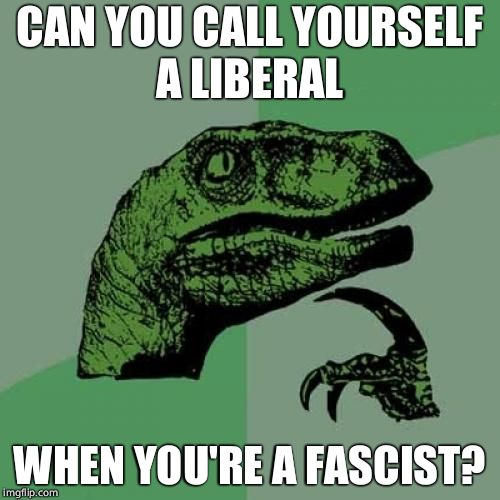 Philosoraptor Meme | CAN YOU CALL YOURSELF A LIBERAL WHEN YOU'RE A FASCIST? | image tagged in memes,philosoraptor | made w/ Imgflip meme maker
