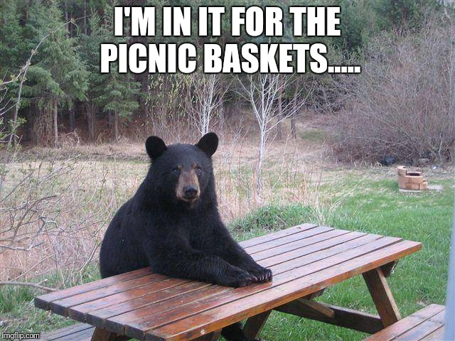 Bear at Picnic Table | I'M IN IT FOR THE PICNIC BASKETS..... | image tagged in bear at picnic table,yogi bear,meme,memes,jokes,funny | made w/ Imgflip meme maker