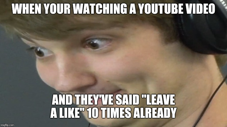 "WHEN YOUR WATCHING A YOUTUBE VIDEO AND THEY'VE SAID ""LEAVE A LIKE"" 10 TIMES ALREADY 