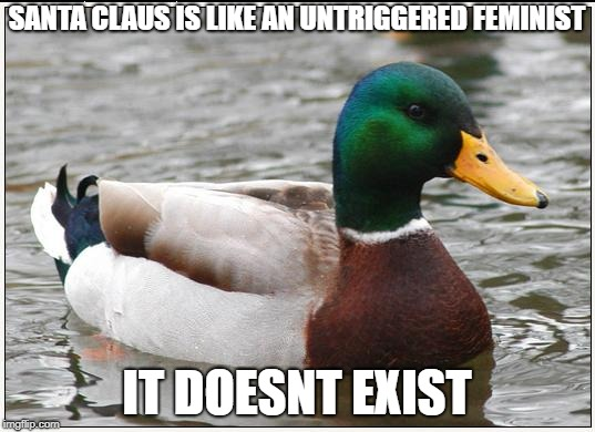 Actual Advice Mallard Meme | SANTA CLAUS IS LIKE AN UNTRIGGERED FEMINIST IT DOESNT EXIST | image tagged in memes,actual advice mallard,ssby,funny | made w/ Imgflip meme maker