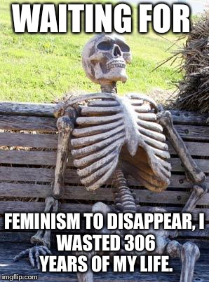 WAITING FOR FEMINISM TO DISAPPEAR, I WASTED 306 YEARS OF MY LIFE. | image tagged in memes,waiting skeleton | made w/ Imgflip meme maker